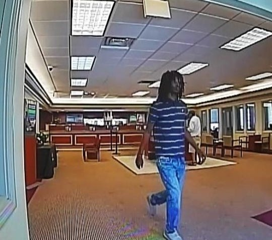 A picture from surveillance footage of the suspect in two South Nashville bank robberies this summer. Malik J. Armstrong was arrested in the case.