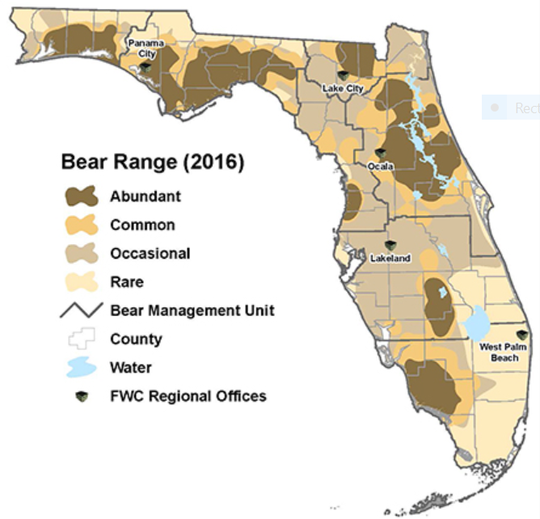 This map shows where Florida's black bear population is distributed.
