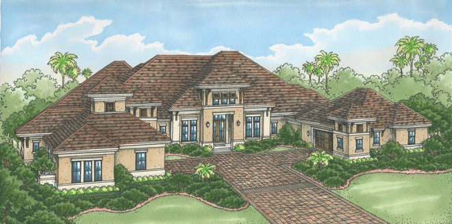 The Sophia III model by Stock Signature Homes overlooks the 10th fairway of the community's Lakes Course.