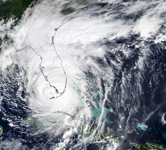 A NASA satellite image taken Sept. 10, 2017, shows Hurricane Irma about to make landfall in Southwest Florida.