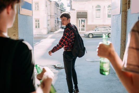 Teenage Bullying Scared Geek Street Gang