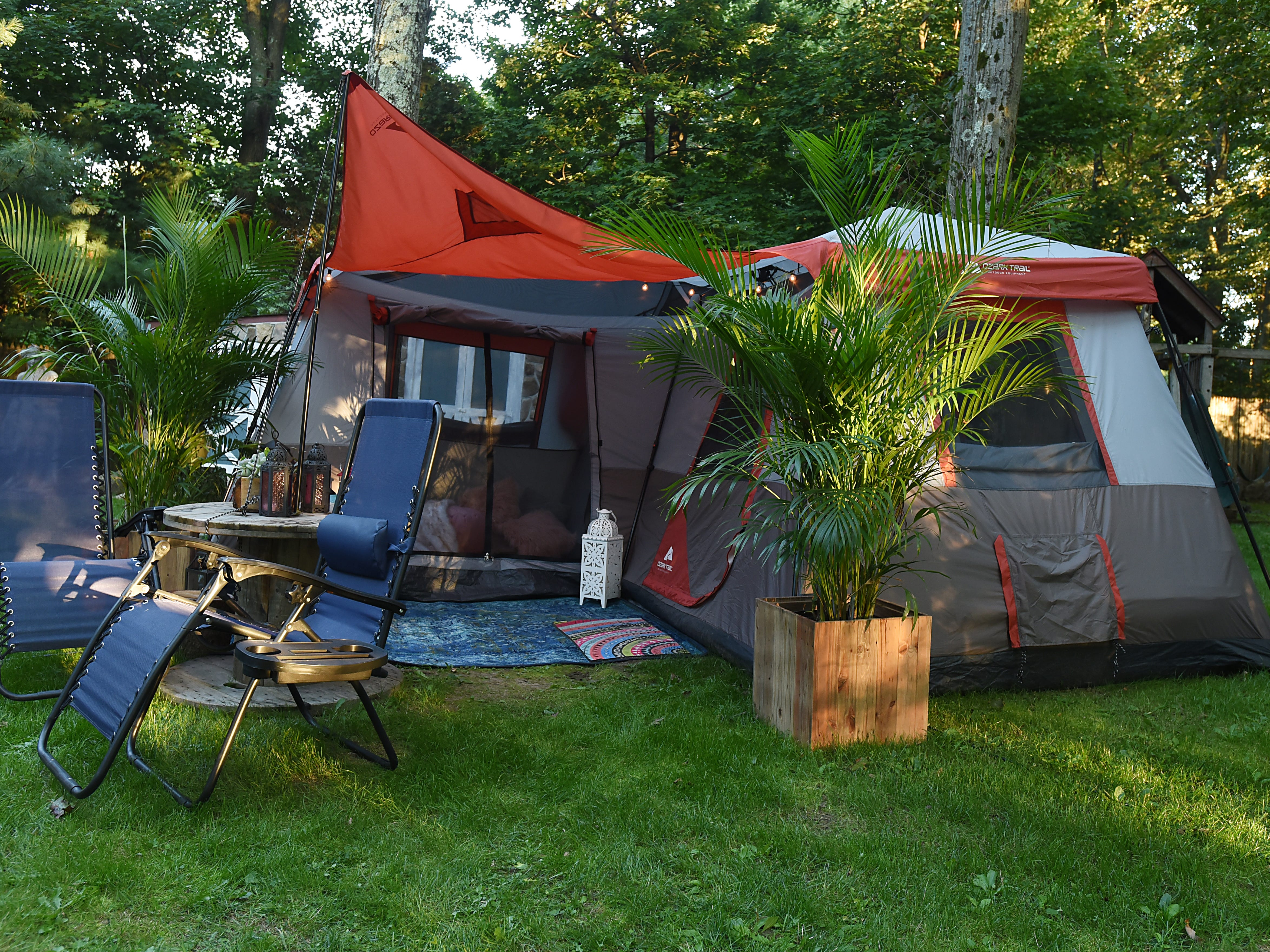 Melissa Ricapito and Mark Pyrka decide to rent out a tent in their backyard on Airbnb as a joke, much to their surprise it's been a hit. The tent rental allows access to all the backyard amenities the West Milford home has to offer. The exterior of the tent shown on Thursday August 30, 2018.