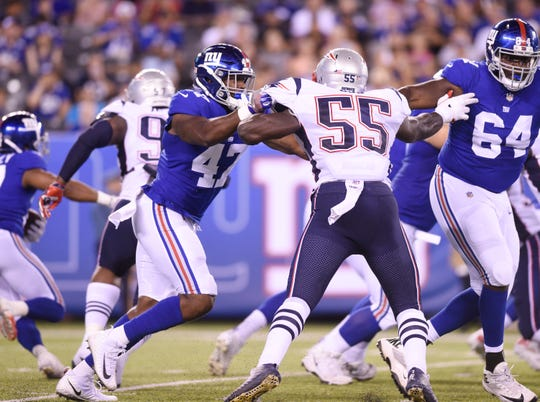 Giants vs. Patriots preseason game at MetLife Stadium in East Rutherford on Thursday, August 30, 2018. G #47 Garrett Dickerson in the fourth quarter.