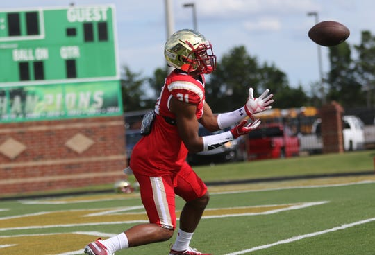 Jordan Morant, of Bergen Catholic, gets ready to catch a kick, before the game against Grayson (Ga.) in Buford, Ga.