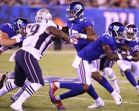 Giants vs. Patriots preseason game at MetLife Stadium in East Rutherford on Thursday, August 30, 2018. (center) G #47 Garrett Dickerson in the second quarter.