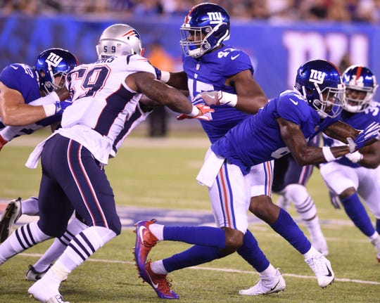 Giants vs. Patriots preseason game at MetLife Stadium in East Rutherford on Thursday, August 30, 2018. (center) G #47 Garrett Dickerson in the second quarter.
