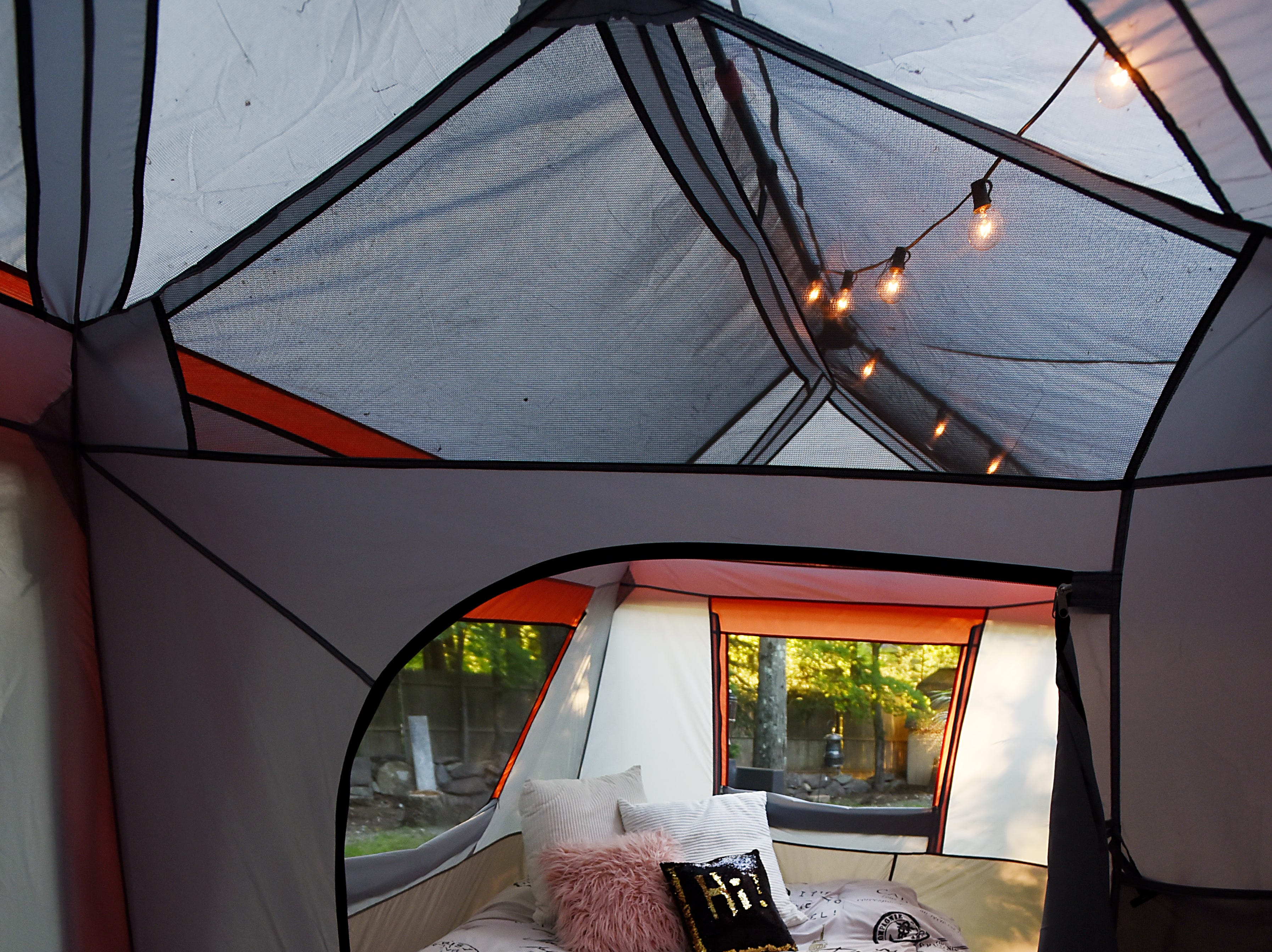 Melissa Ricapito and Mark Pyrka decide to rent out a tent in their backyard on Airbnb as a joke, much to their surprise it's been a hit. The tent rental allows access to all the backyard amenities the West Milford home has to offer. A view into the master bedroom of the tent. Shown on Thursday August 30, 2018.