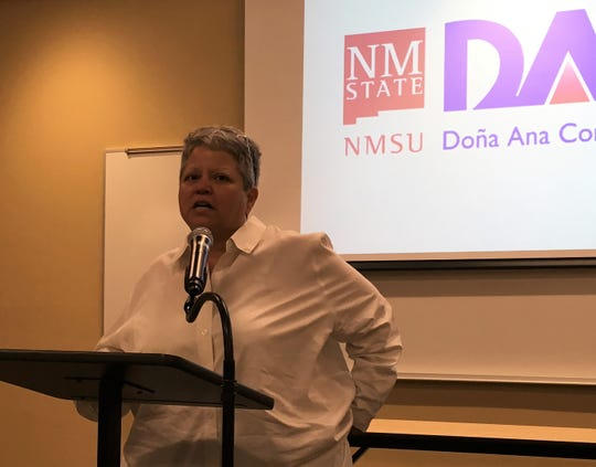 Dr. Mónica F. Torres speaks after she was named interim president of Doña Ana Community College on August 31, 2018.