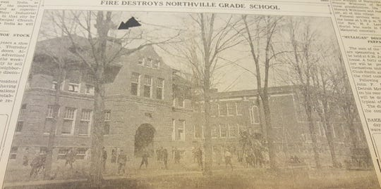 This 1936 Northville Record photo and accompanying article announced the fire in the 1907 grade school adjacent to what is now Old Village School. Sparks from the chimney caught a gust of wind one early Monday morning, and the building was destroyed.