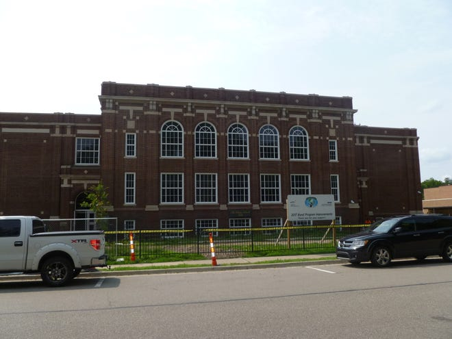 The Old Village School at 405 West Main Street in Northville, originally used as a high school and built in 1917, is being renovated to house Board of Education offices and early childhood classrooms.