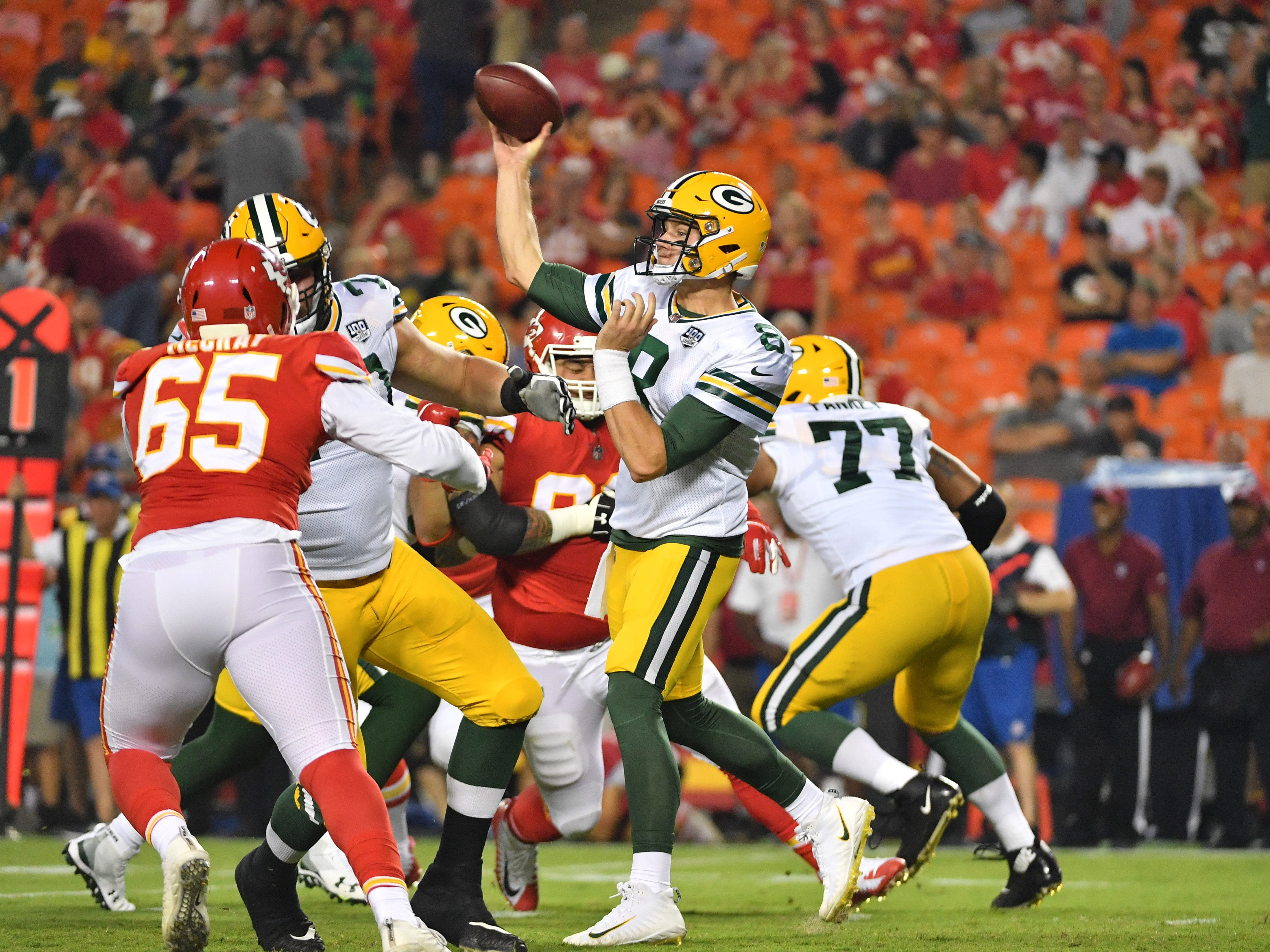 Aug 30, 2018; Kansas City, MO, USA; Green Bay Packers quarterback Tim Boyle (8) throws a pass during the first half against the Kansas City Chiefs at Arrowhead Stadium.
