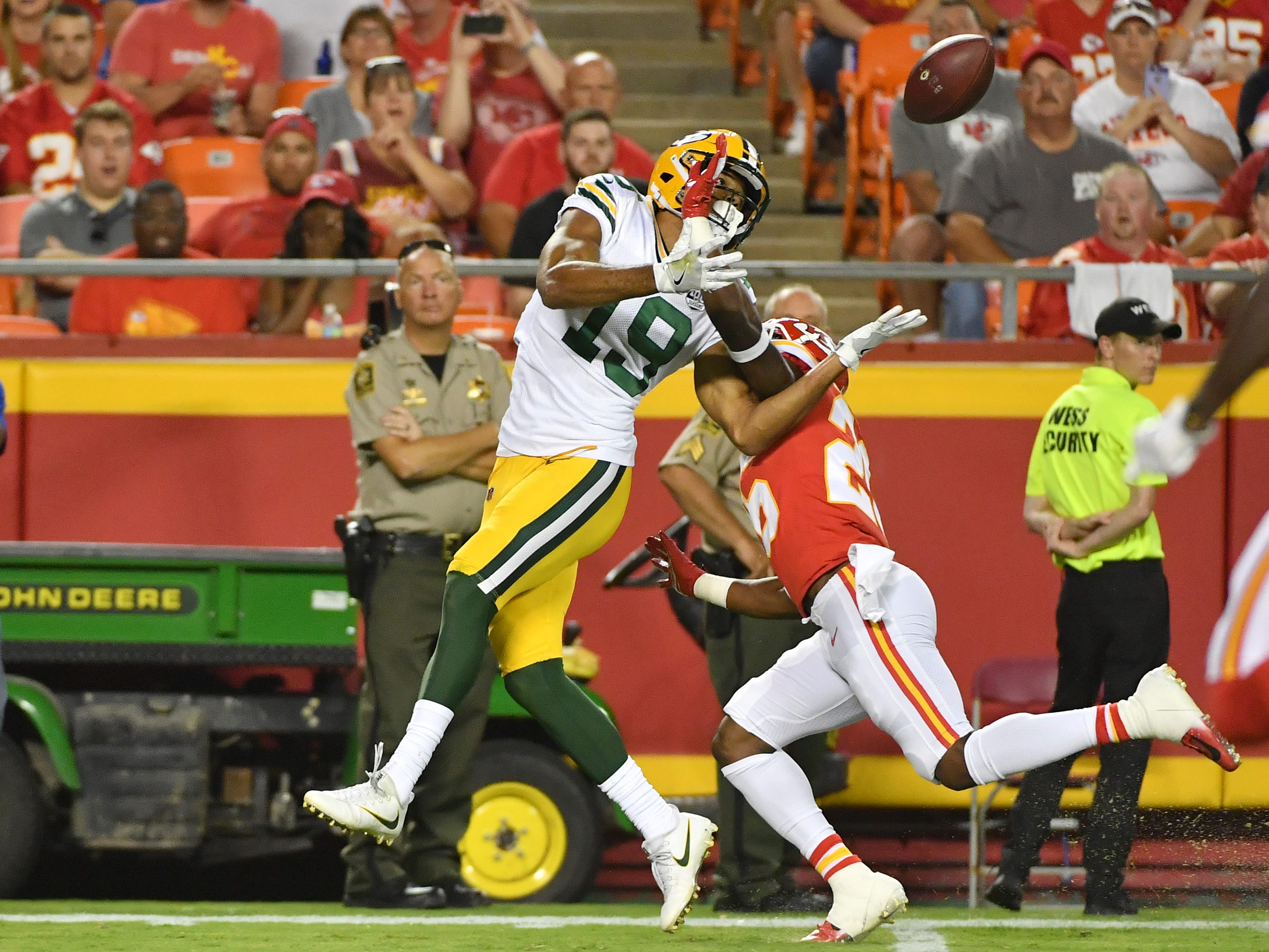 Aug 30, 2018; Kansas City, MO, USA; Kansas City Chiefs cornerback Will Redmond (26) breaks up a pass intended for Green Bay Packers wide receiver Equanimeous St. Brown (19) during the first half at Arrowhead Stadium.