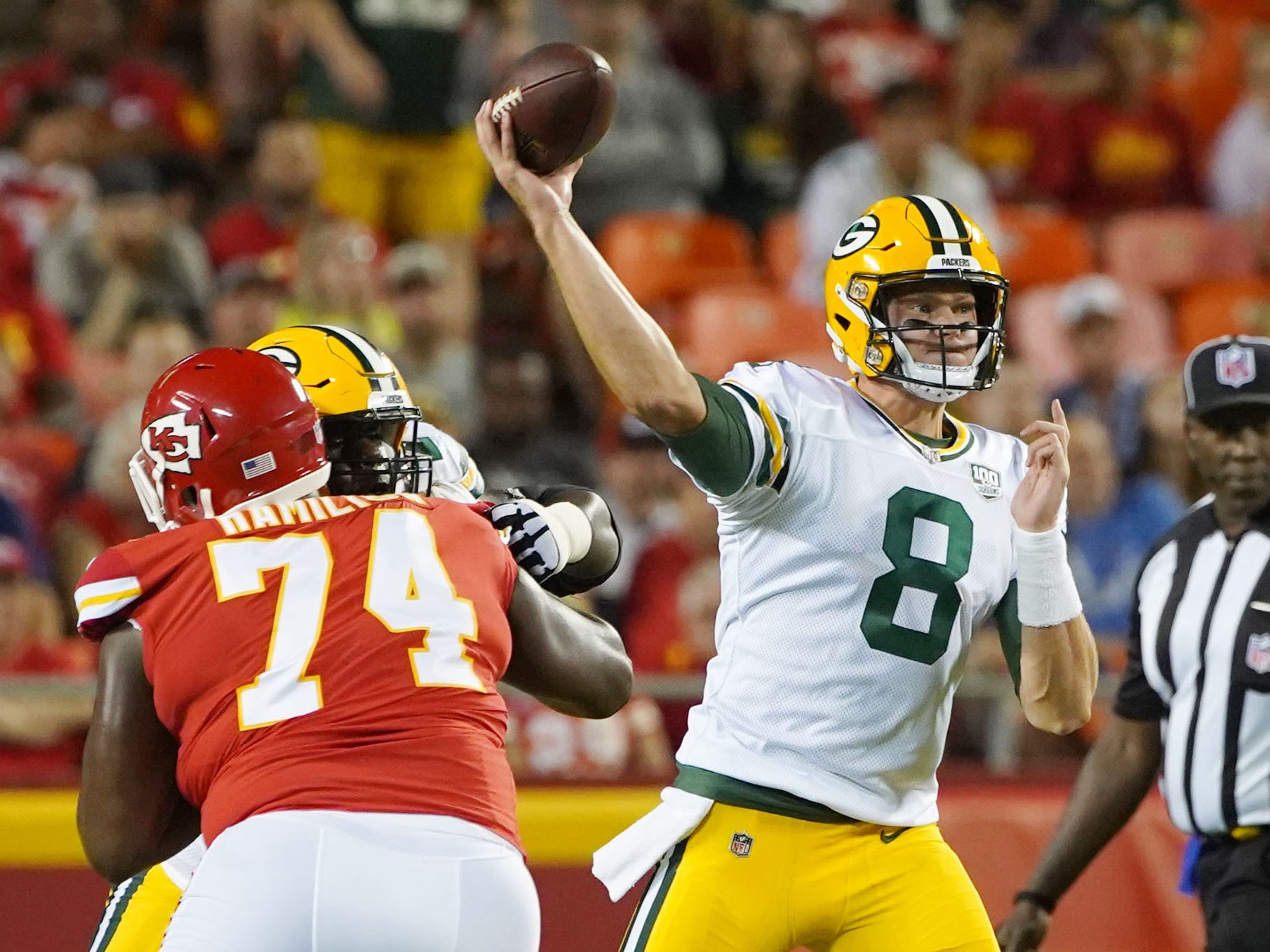 Aug 30, 2018; Kansas City, MO, USA; Green Bay Packers quarterback Tim Boyle (8) throws a pass against the Kansas City Chiefs in the first half at Arrowhead Stadium.