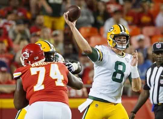 Aug 30, 2018; Kansas City, MO, USA; Green Bay Packers quarterback Tim Boyle (8) throws a pass against the Kansas City Chiefs in the first half at Arrowhead Stadium.