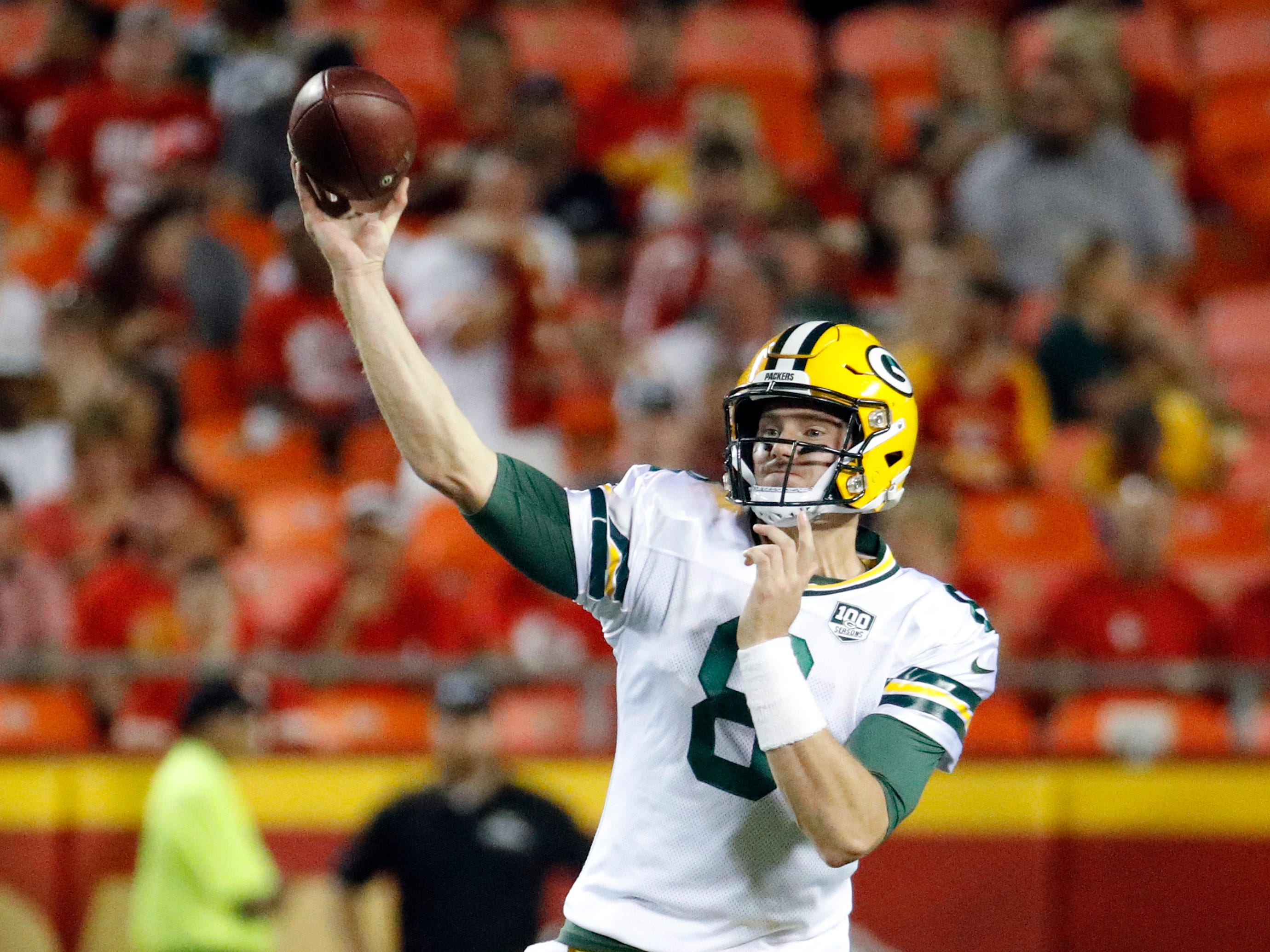 Green Bay Packers quarterback Tim Boyle (8) throws during the first half of an NFL preseason football game against the Kansas City Chiefs in Kansas City, Mo., Thursday, Aug. 30, 2018.