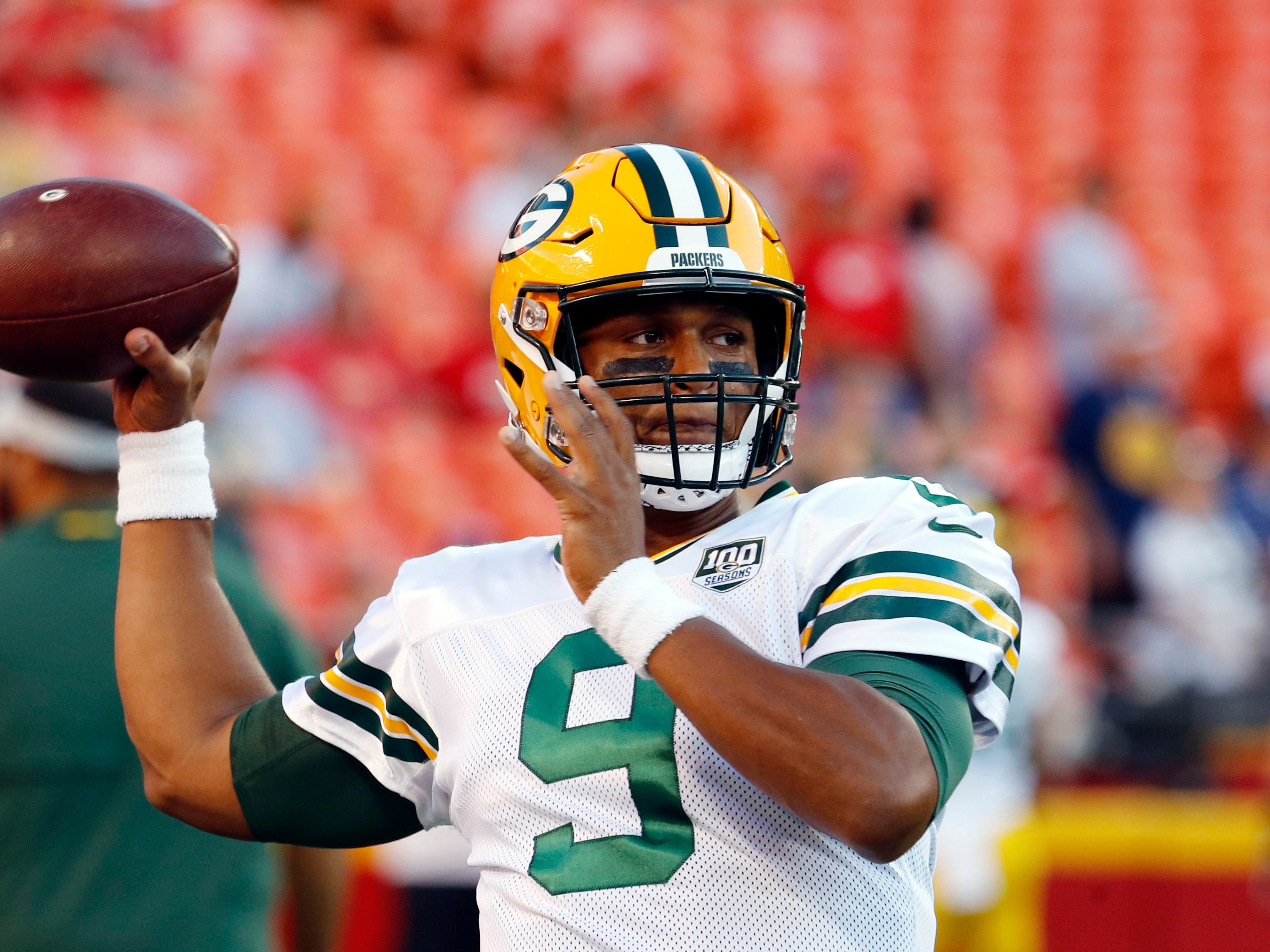 Green Bay Packers quarterback DeShone Kizer (9) warms up before an NFL preseason football game against the Kansas City Chiefs in Kansas City, Mo., Thursday, Aug. 30, 2018.