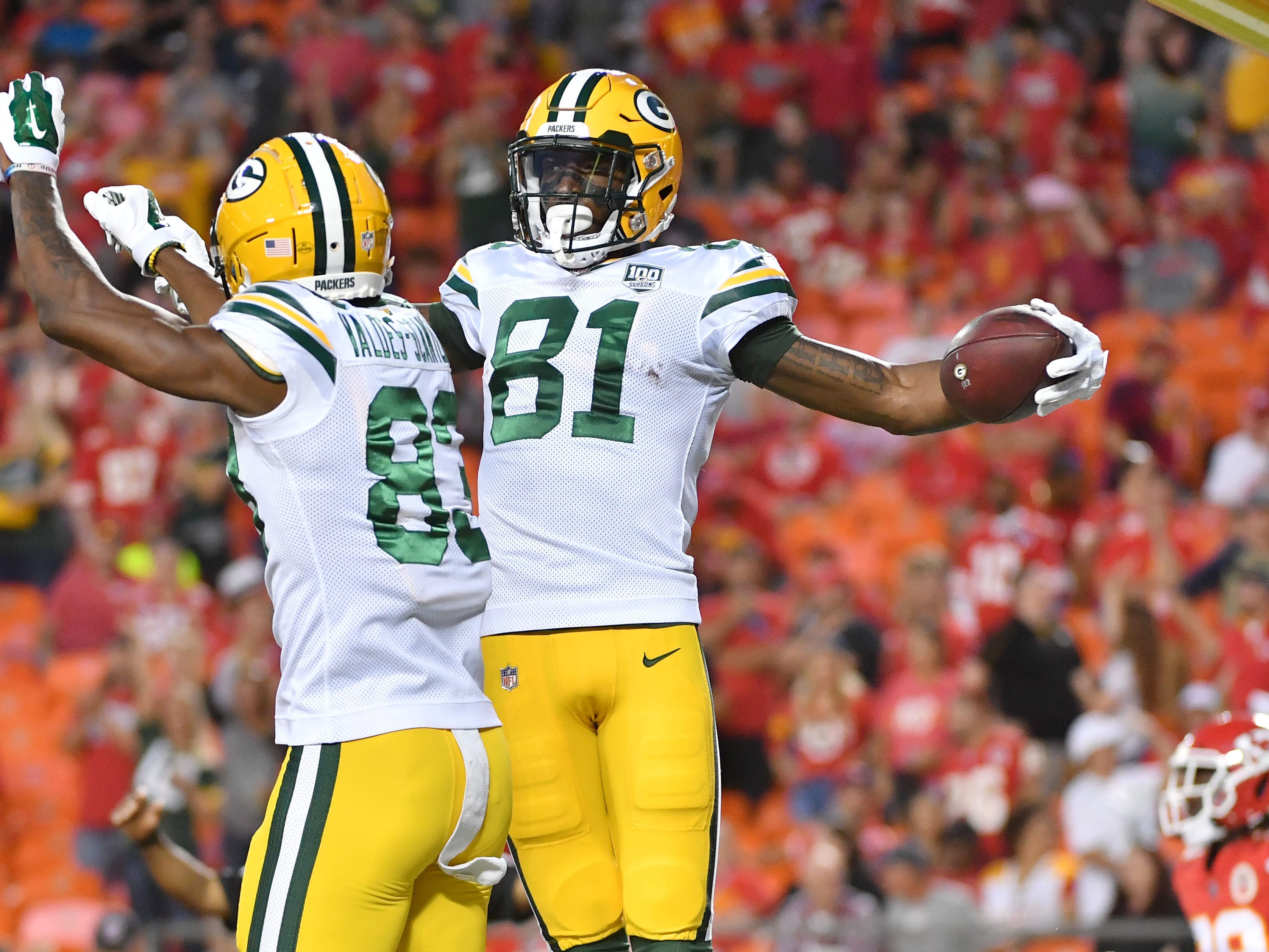 Aug 30, 2018; Kansas City, MO, USA; Green Bay Packers wide receiver Geronimo Allison (81) celebrates with wide receiver Marquez Valdes-Scantling (83) after scoring during the first half against the Kansas City Chiefs at Arrowhead Stadium.