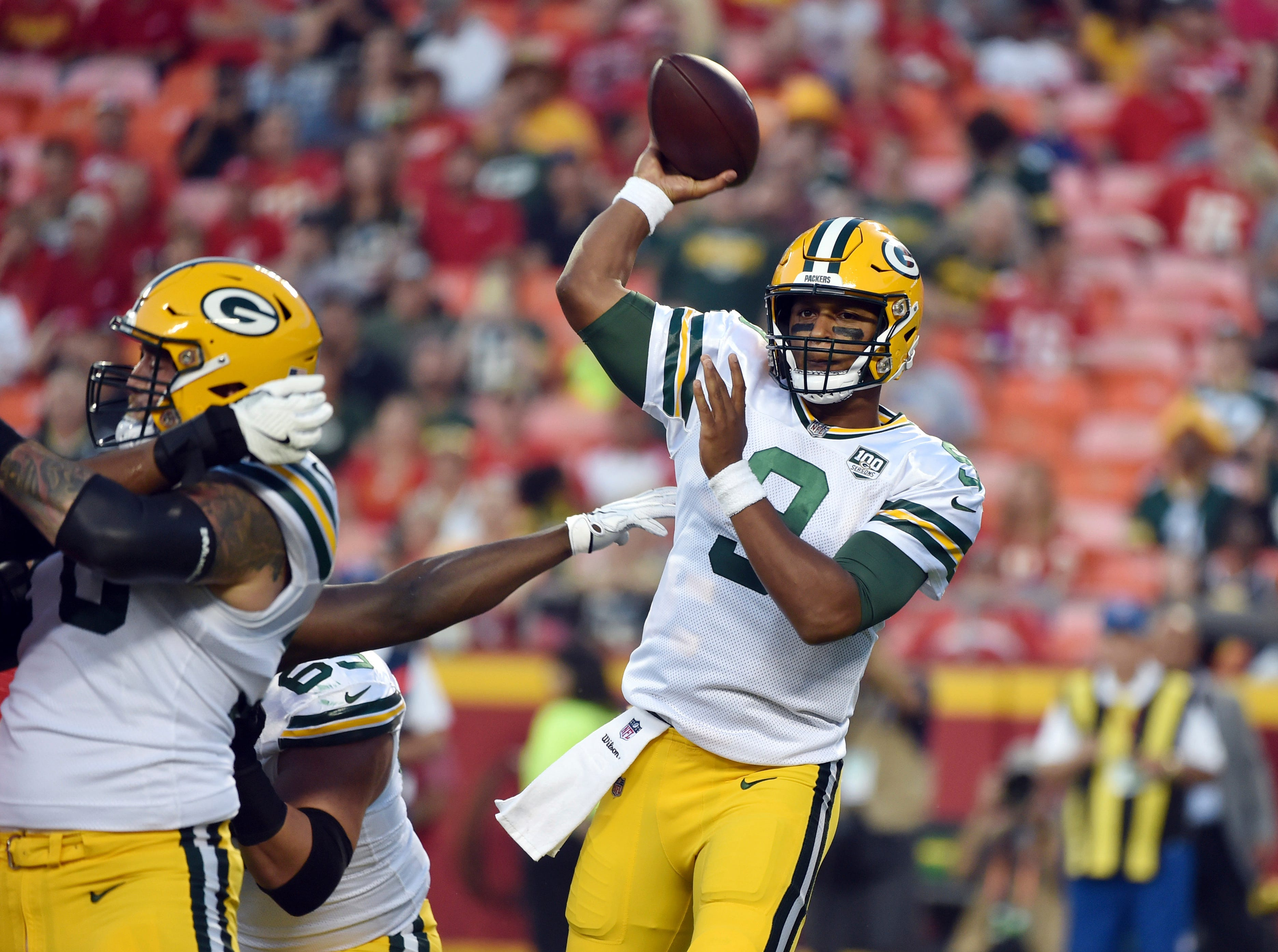 Green Bay Packers quarterback DeShone Kizer (9) throws during the first half of an NFL preseason football game against the Kansas City Chiefs in Kansas City, Mo., Thursday, Aug. 30, 2018.