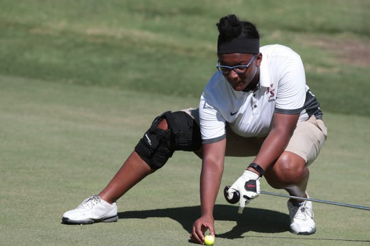 Tzipporah Page, one of two of Palm Springs High School's girls golfers plays against Xavier Prep at Indian Canyons Golf Resort, Palm Springs, Calif., Thursday, August 30, 2018.