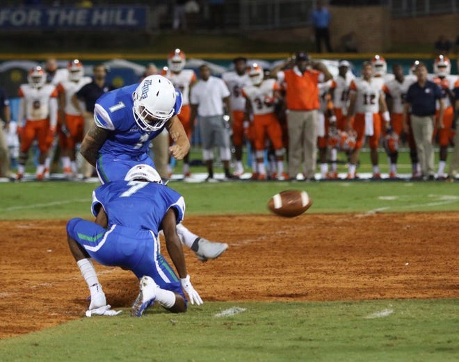 UWF placekicker Austin Williams converts one of his four field goals Thursday night in UWF's 19-9 win against Carson-Newman at Blue Wahoos Stadium.
