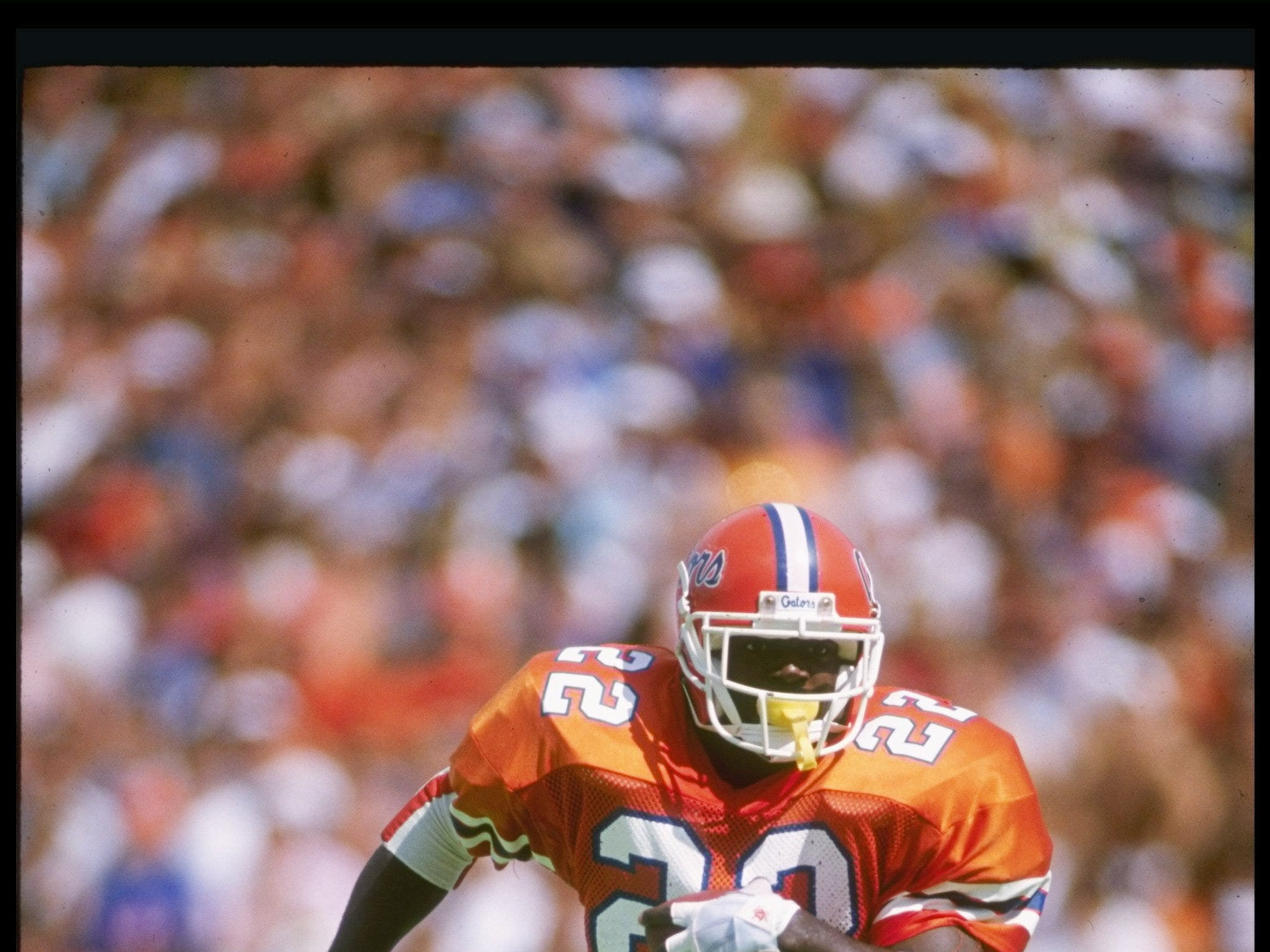 14 Oct 1989:  Running back Emmitt Smith of the Florida Gators runs down the field during a game against the Vanderbilt Commadores at Florida Field in Gainesville, Florida.  Florida won the game 34-11. Mandatory Credit: Allen Dean Steele  /Allsport