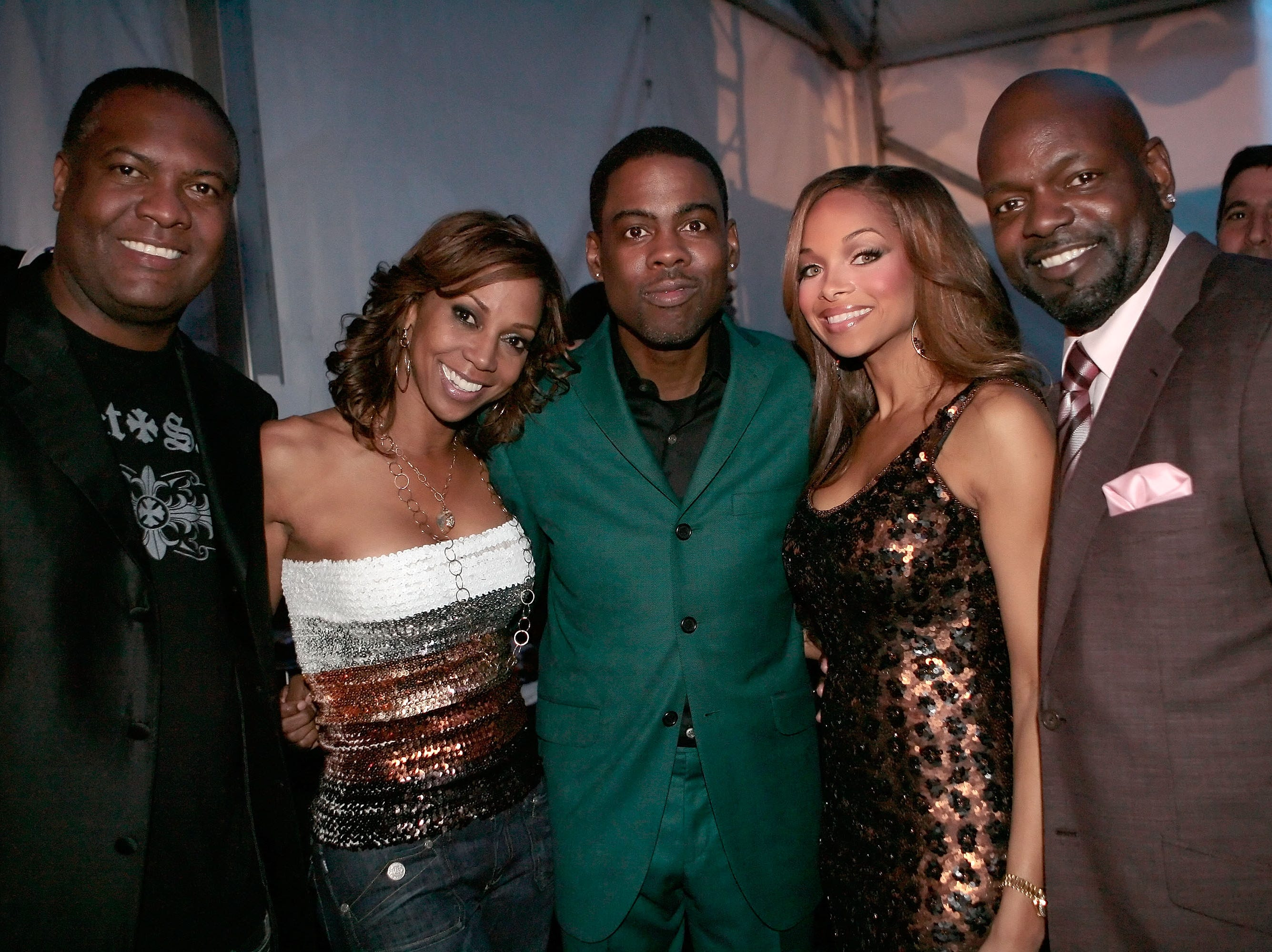 PHOENIX - FEBRUARY 02:  (L-R) Former NFL player Rodney Peete, wife Holly Robinson Peete , comedian Chris Rock, Patricia Southall and Emmitt Smith attend the Chris Rock Live in Concert performance benefiting the HollyRod Foundation held at Prive Lounge on February 2, 2008 in Phoenix, Arizona.  (Photo by Charley Gallay/Getty Images for HollyRod Foundation)