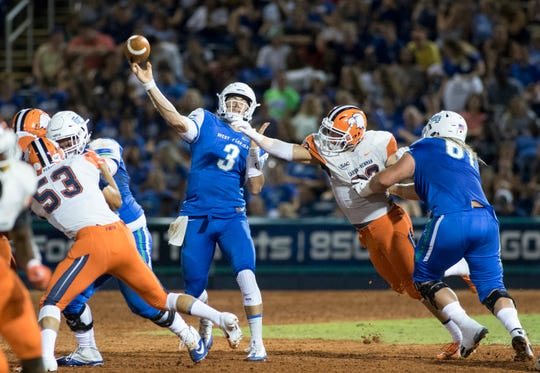 Quarterback Sam Vaughn (3) passes during the Carson-Newman vs University of West Florida football game at Blue Wahoos stadium in Pensacola on Thursday, August 30, 2018.