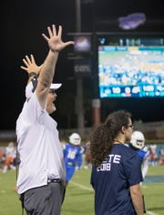 Head coach Pete Shinnick during the Carson-Newman vs University of West Florida football game at Blue Wahoos stadium in Pensacola on Thursday, August 30, 2018.