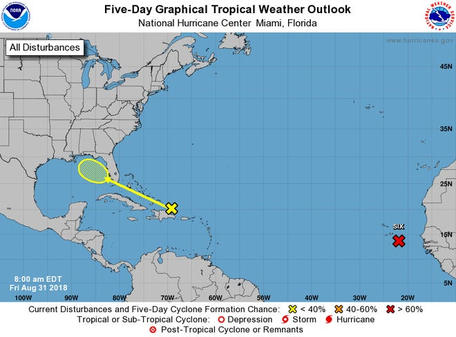 A tropical wave is forecast to move into the Gulf of Mexico (yellow) and has a 10 percent chance of strengthening into a tropical cyclone.