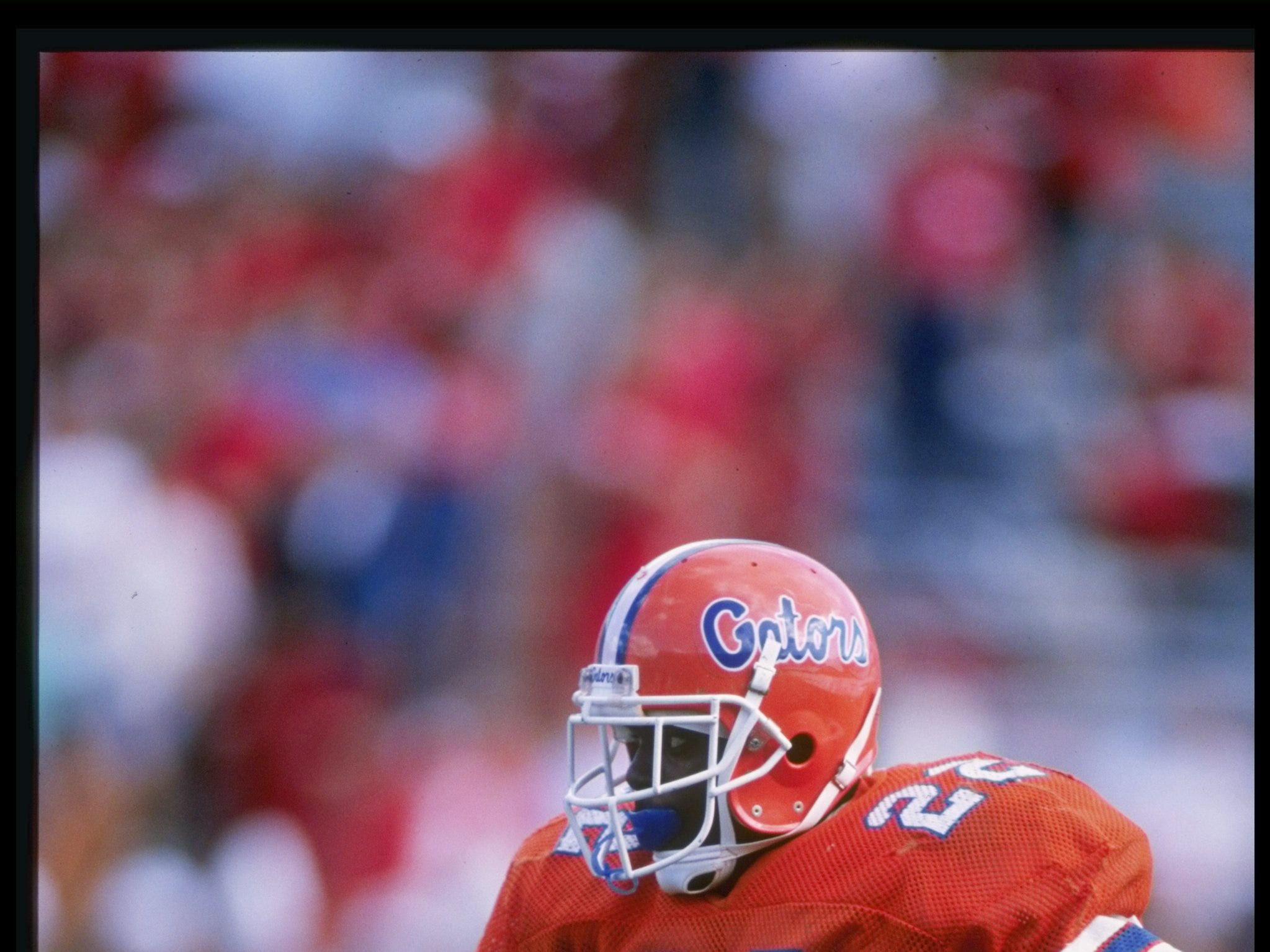 Running back Emmitt Smith of the Florida Gators runs down the field during a game at Florida Field in Gainesville, Florida.   Mandatory Credit: Allen Dean Steele