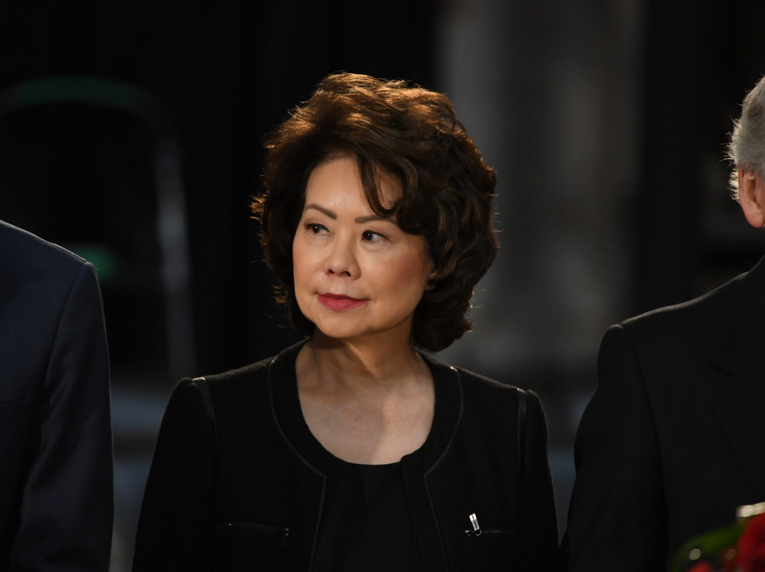 8/31/18 11:38:04 AM -- Washington, DC, U.S.A  -- Secretary of Transportation Elaine Chao pays her respects as the body of John McCain lies in state at the U.S. Capitol in Washington on Aug. 31, 2018 in Washington. Sen. McCain died on Aug. 25. --    Photo by Jasper Colt, USA TODAY Staff