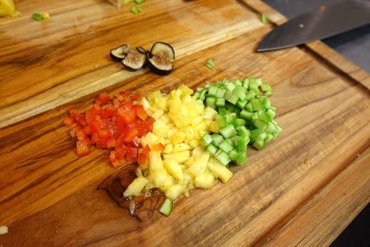 Chopped fruit, waiting to be turned into chutney at The Breadfruit & Rum Bar in Phoenix.