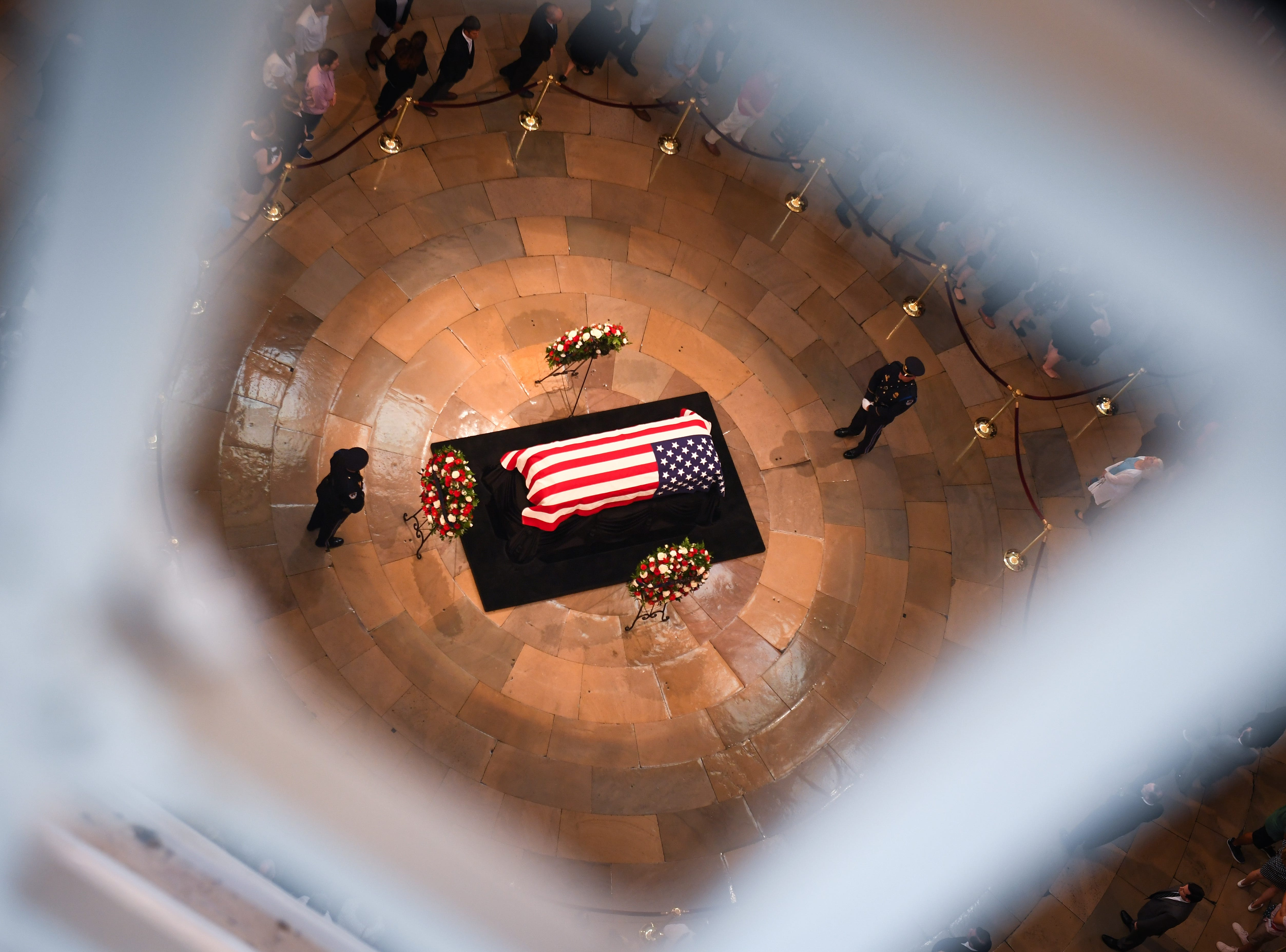 8/31/18 2:03:53 PM -- Washington, DC, U.S.A  -- The body of John McCain lying in state at the U.S. Capitol in Washington on Aug. 31, 2018 in Washington. Sen. McCain died on Aug. 25. --    Photo by Jack Gruber, USA TODAY Staff