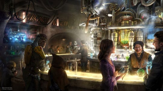 An artist rendering shows otherworldly guests enjoying cocktails at Oga's Cantina inside Star Wars: Galaxy's Edge at Disneyland