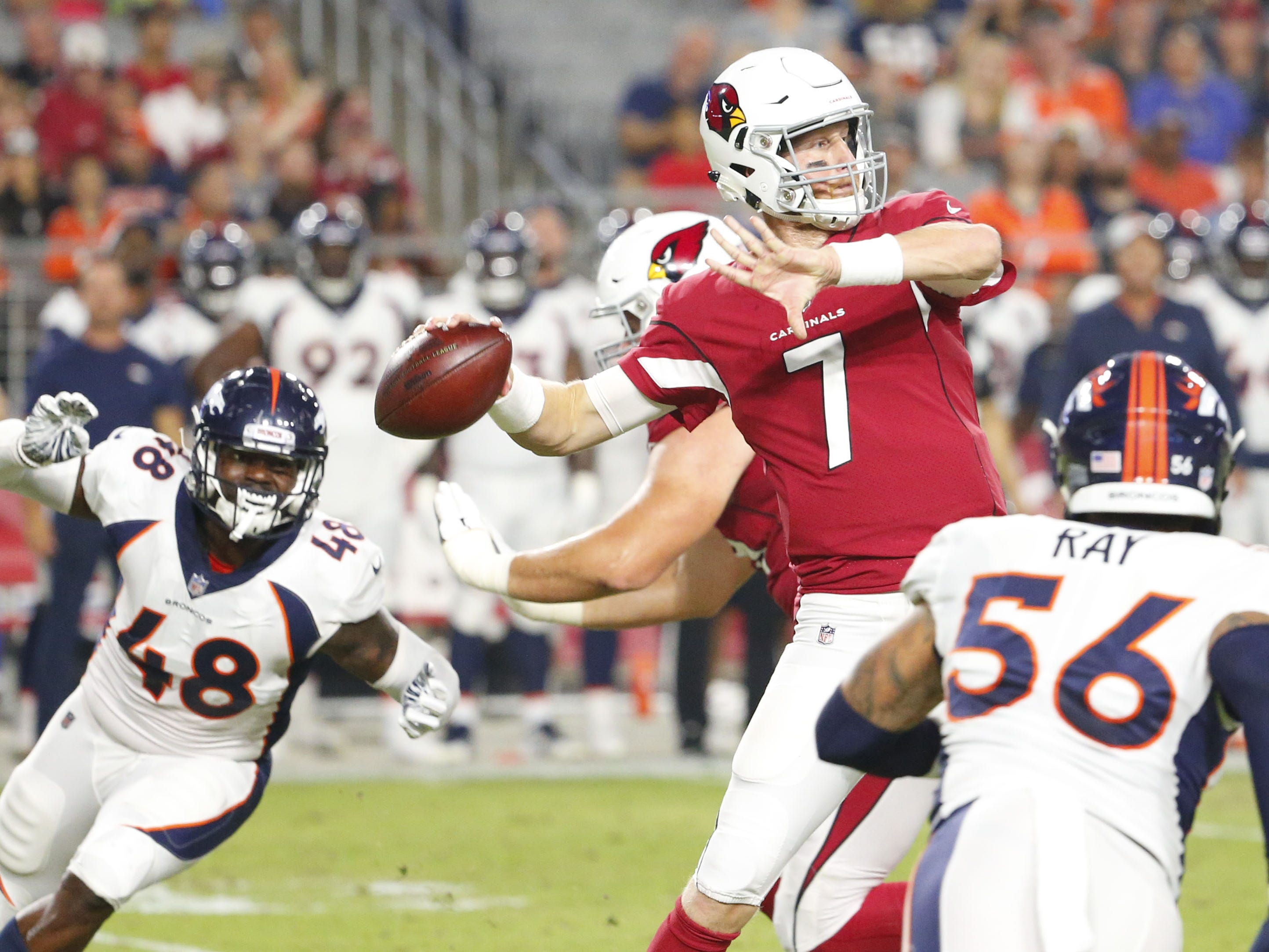 Arizona Cardinals quarterback Mike Glennon (7) passes the ball during a NFL game against the Denver Broncos at the University of Phoenix Stadium in Glendale on August 30, 2018.