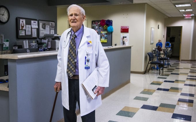 Dr. C. Dale Collins, 98, is finally retiring.  He works Aug. 24, 2018,  one of his last days at Maricopa Integrated Health System.