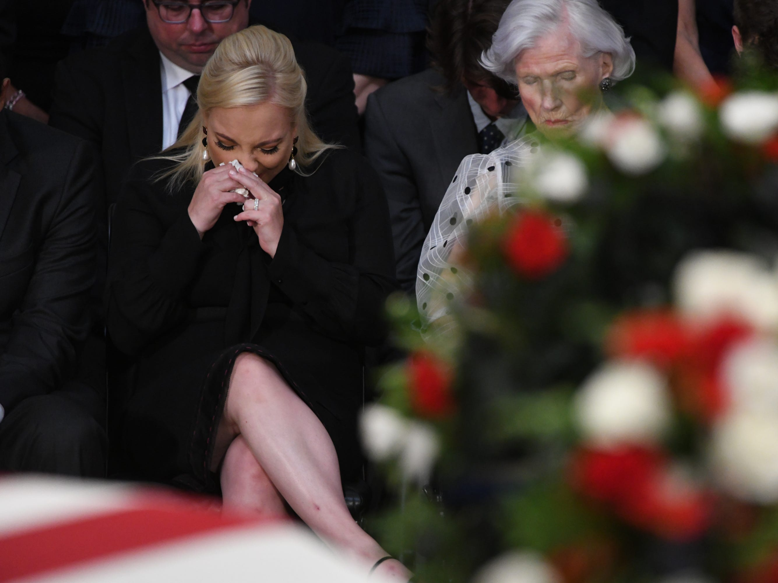 Sen. John McCain's daughter Meghan McCain and his mother, Roberta McCain, attend a memorial at the U.S. Capitol rotunda on Aug. 31, 2018.