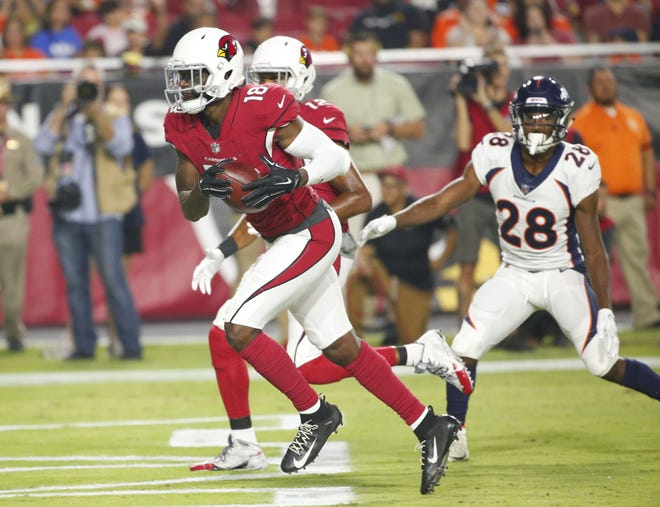 Arizona Cardinals wide receiver Greg Little (18) runs in for the touchdown during a NFL game against the Denver Broncos at the University of Phoenix Stadium in Glendale on August 30, 2018.