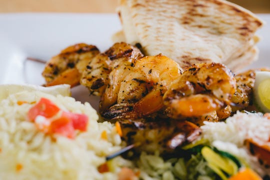 Shrimp souvlaki at Opa Life Greek Cafe.