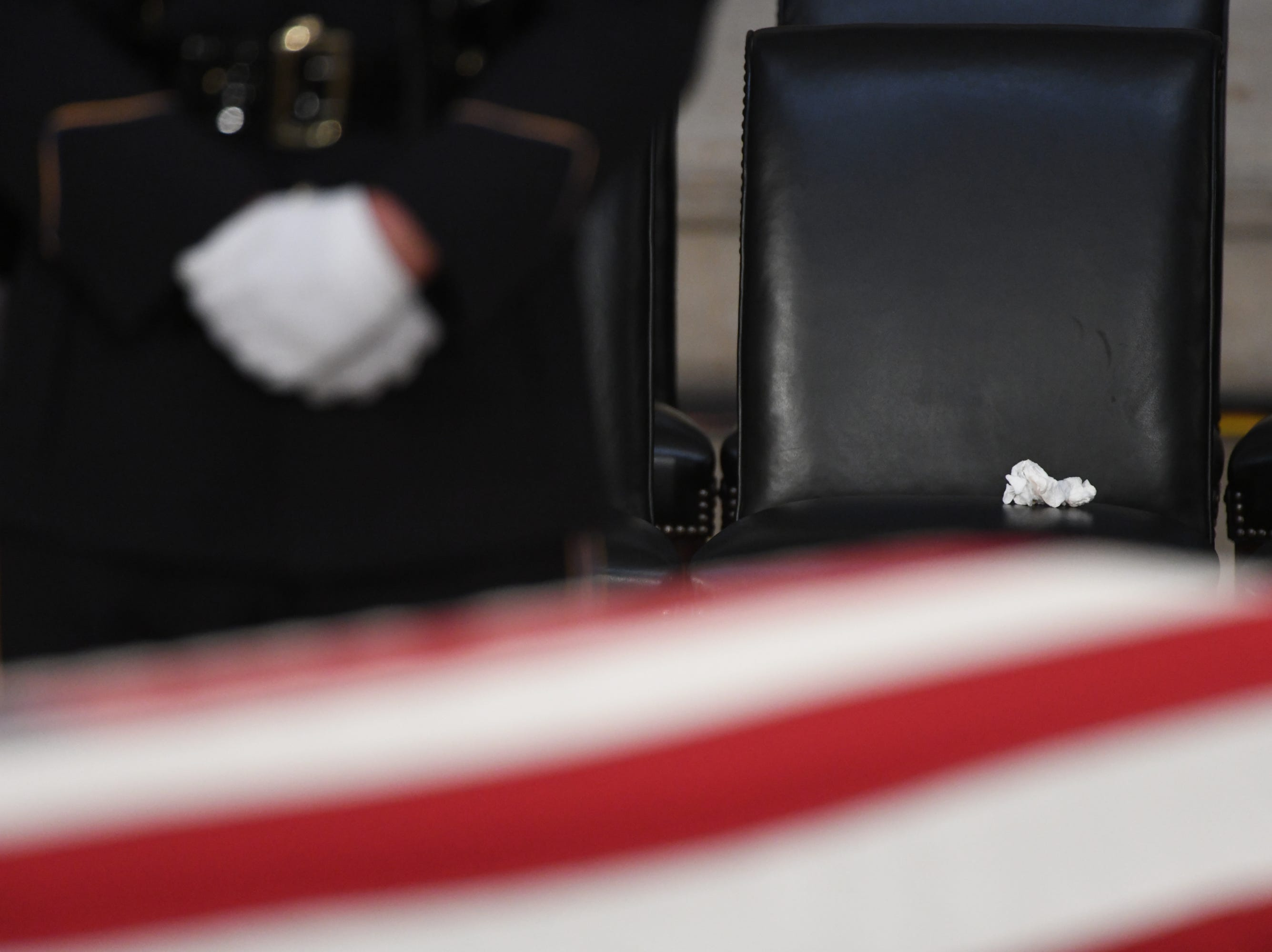 Meghan McCain's tissue sits on her chair at a memorial for her father, Sen. John McCain, at the U.S. Capitol in Washington on Aug. 31, 2018.