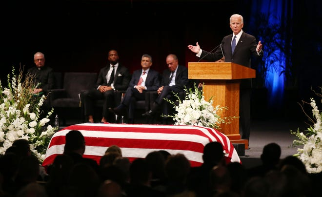 Former United States Vice President Joseph Biden pays tribute to his friend U.S. Sen. John McCain during a memorial service at North Phoenix Baptist Church on Aug. 30, 2018, in Phoenix.