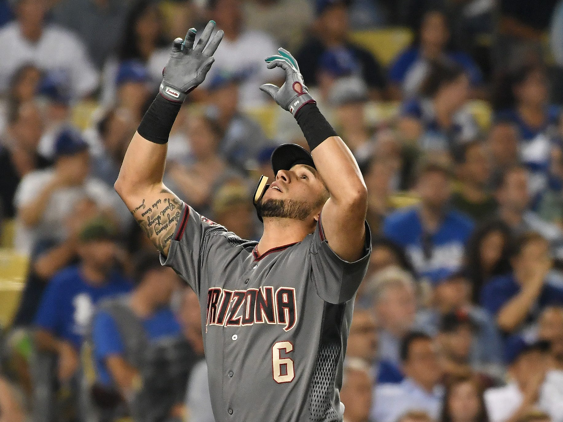 Aug 30, 2018; Los Angeles, CA, USA; Arizona Diamondbacks right fielder David Peralta (6) celebrates hitting a three run home run against the Los Angeles Dodgers in the fifth inning at Dodger Stadium. Mandatory Credit: Richard Mackson-USA TODAY Sports