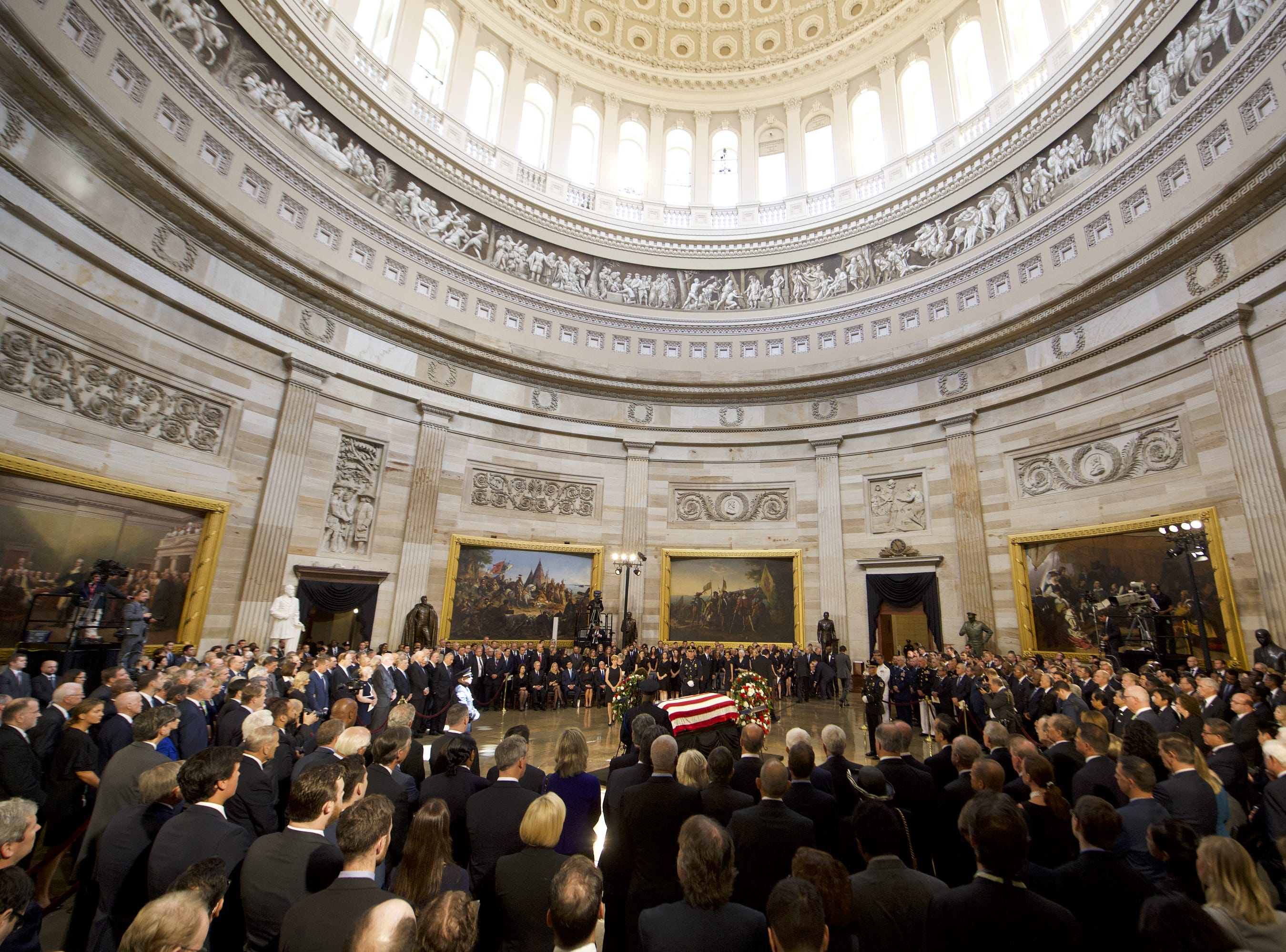 8/31/18 12:26:28 PM -- Washington, DC, U.S.A  -- The body of John McCain lies in state at the U.S. Capitol in Washington on Aug. 31, 2018 in Washington. Sen. McCain died on Aug. 25. --    Photo by Jasper Colt, USA TODAY Staff