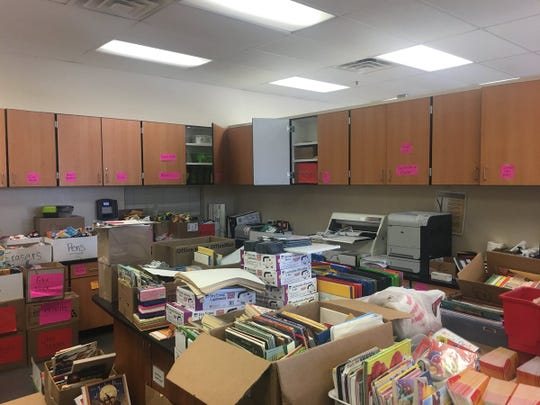 Supplies are being dropped off at the district's Oak Street campus, where Navajo Elementary students and staff have been relocated after a fire broke out at the school.