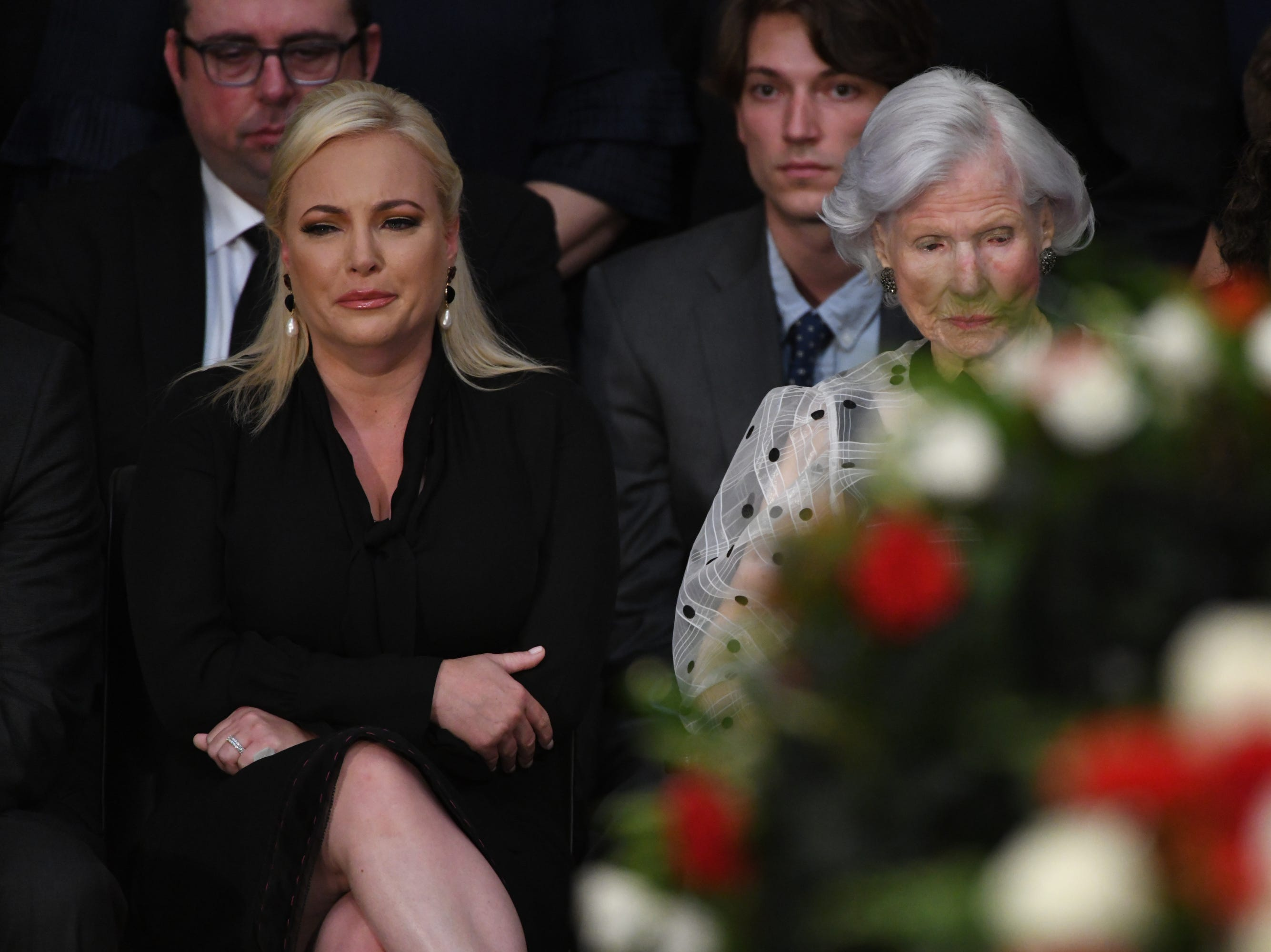 Cindy and Roberta McCain look on during a memorial for Sen. John McCain as he lies in state at the U.S. Capitol in Washington on Aug. 31, 2018 in Washington.