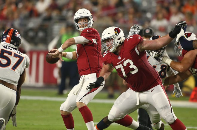 Arizona Cardinals quarterback Mike Glennon throws a pass against the Denver Broncos during an NFL football game in the first half on Aug. 30, 2018 in Glendale, Ariz.