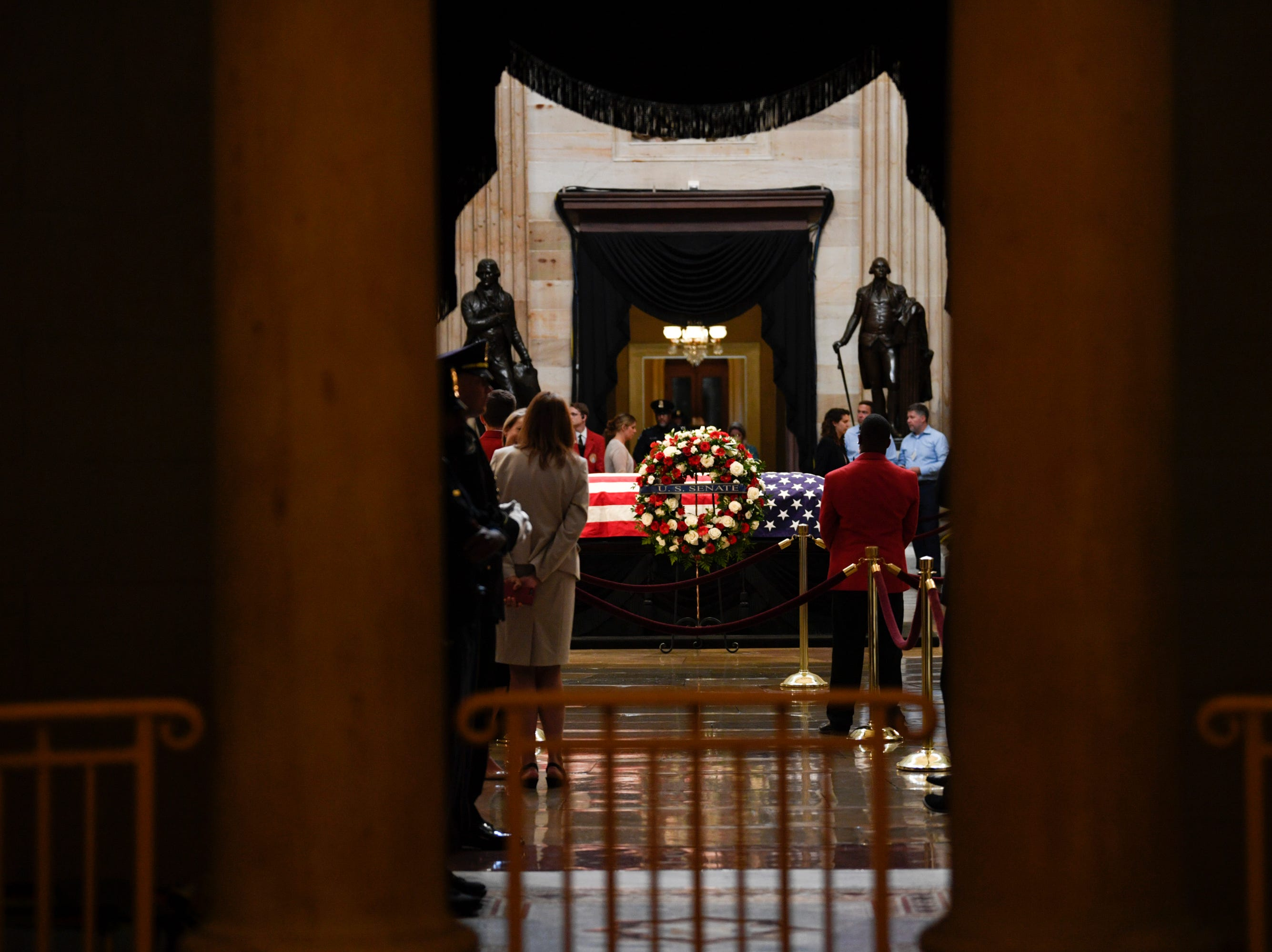 8/31/18 1:07:31 PM -- Washington, DC, U.S.A  -- The body of John McCain lies in state at the U.S. Capitol in Washington on Aug. 31, 2018 in Washington. Sen. McCain died on Aug. 25. --    Photo by Jasper Colt, USA TODAY Staff