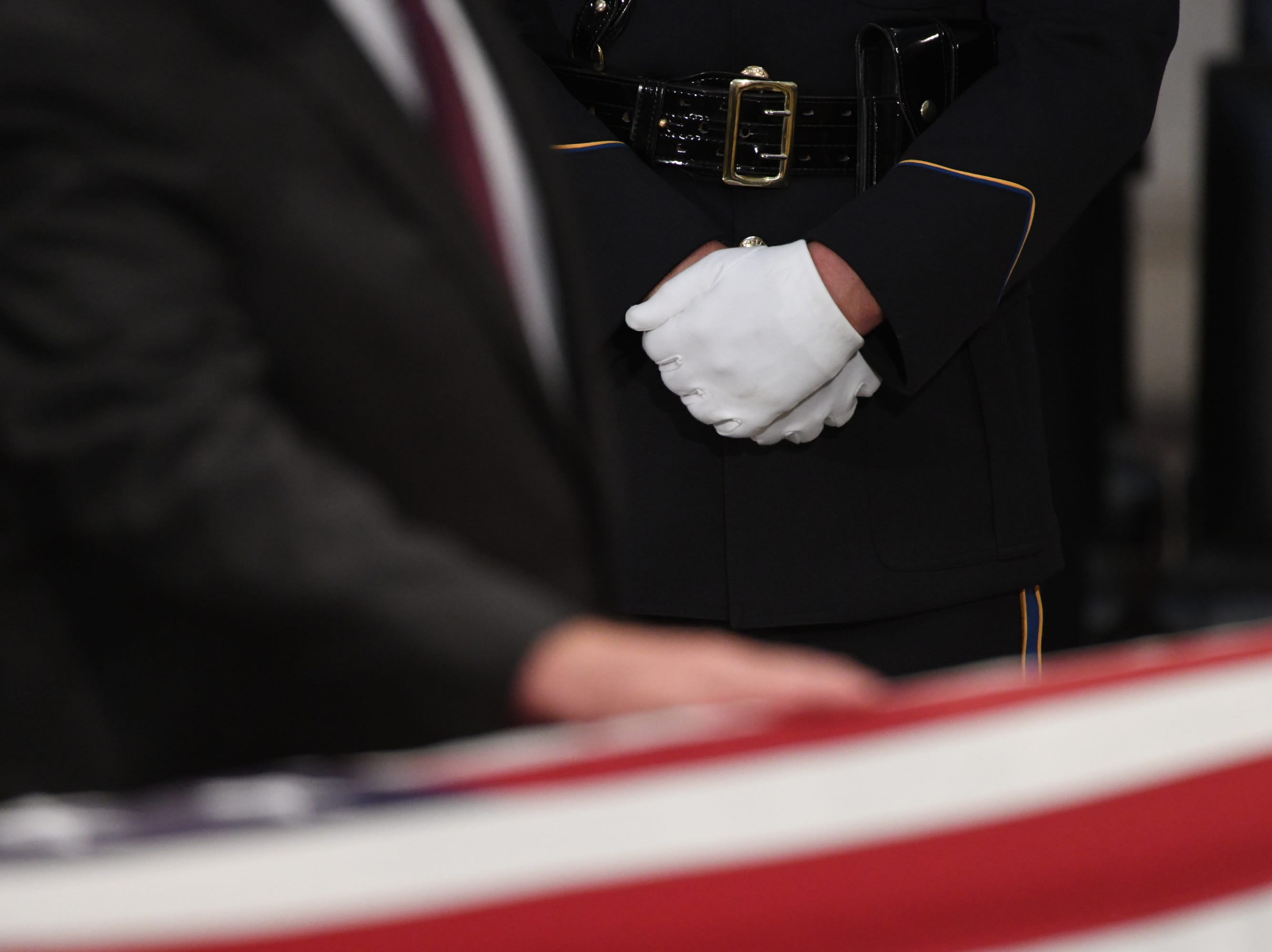 8/31/18 11:34:31 AM -- Washington, DC, U.S.A  -- The body of John McCain lies in state at the U.S. Capitol in Washington on Aug. 31, 2018 in Washington. Sen. McCain died on Aug. 25. --    Photo by Jasper Colt, USA TODAY Staff