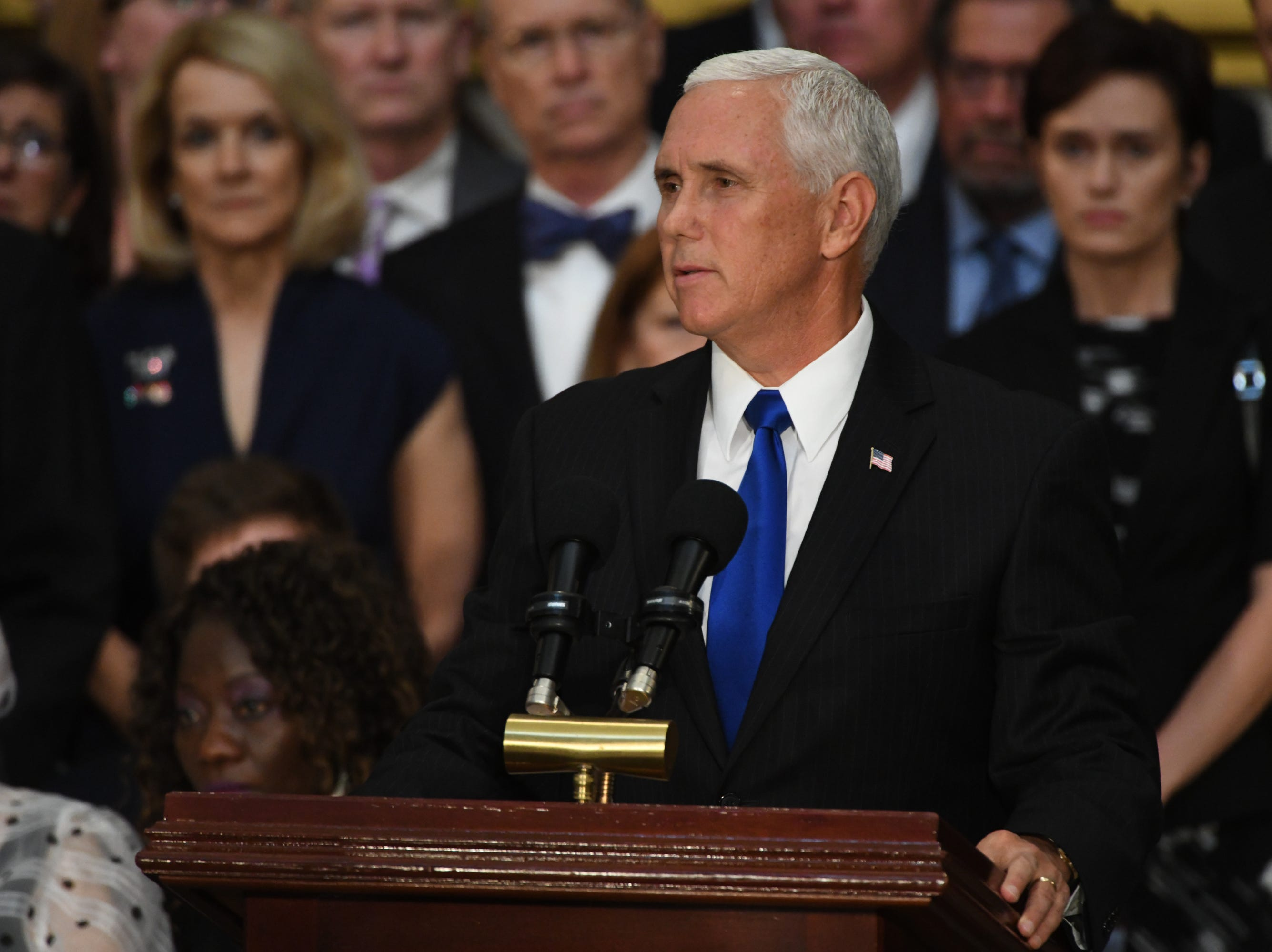 Vice President Mike Pence speaks at a memorial for Sen. John McCain at the U.S. Capitol in Washington on Aug. 31, 2018 in Washington.
