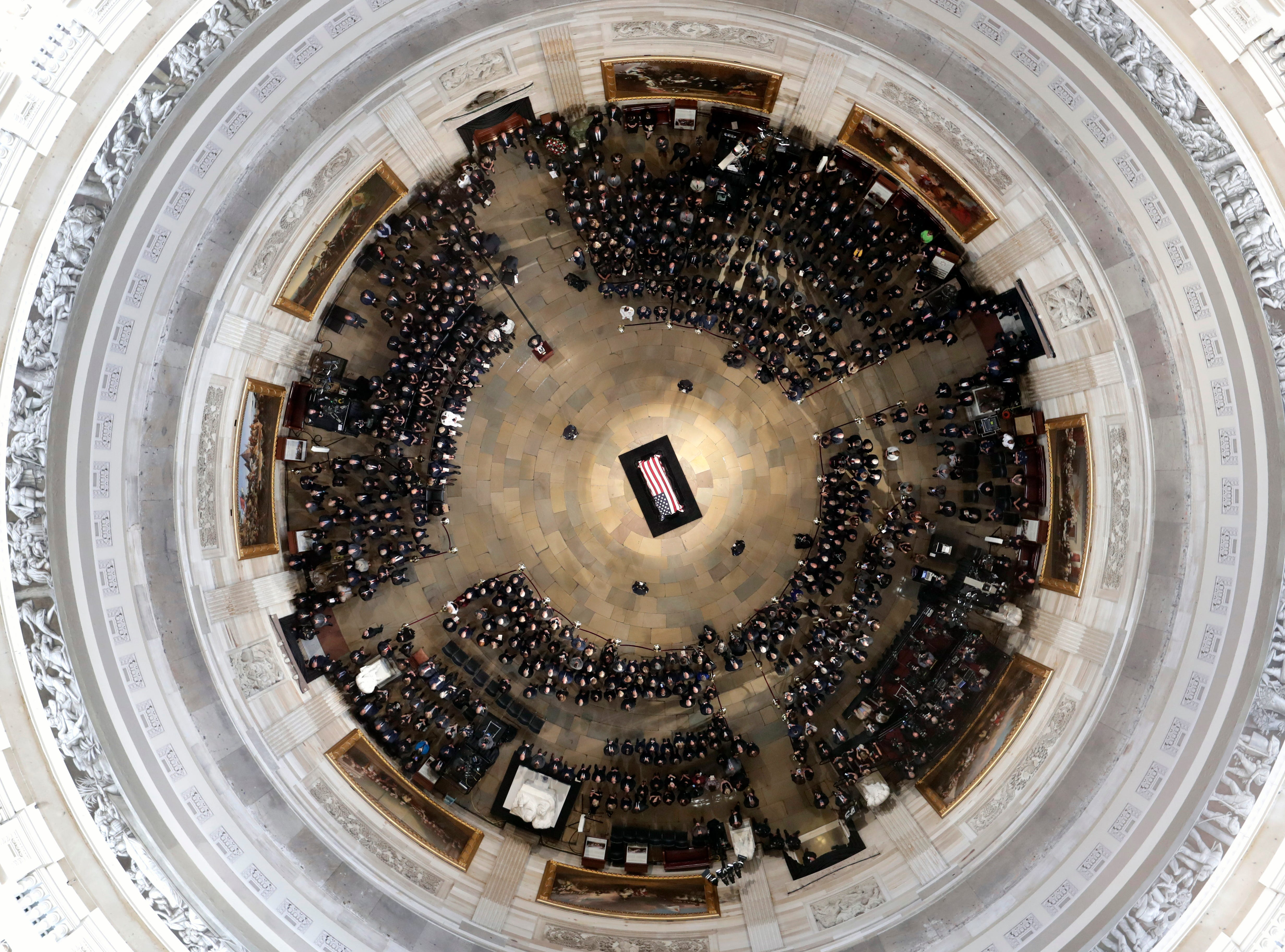 The flag-draped casket of Sen. John McCain, R-Ariz., lies in state on the Lincoln Catafalque in the rotunda of the U.S. Capitol Aug. 31, 2018, in Washington.